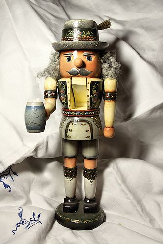 One of my talented sister's painted nutcrackers portraying our german heritage. She likes to paint in the Rosemaling and Bauernmalerei techniques.