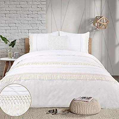 Amazon Com Yinfung Boho Duvet Cover Queen Ivory Tassel Cream Macrame Crochet Boho Chic 90 X 90 Quilt Cover Fringe White Bed Set White Bedding Boho Duvet Cover