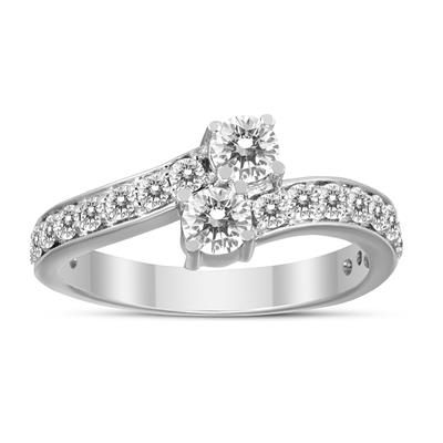 1 Carat Forever Us Diamond Two Stone Engagement Ring 10k White Gold Diamond Solitaire Earrings Stone Engagement Rings White Gold