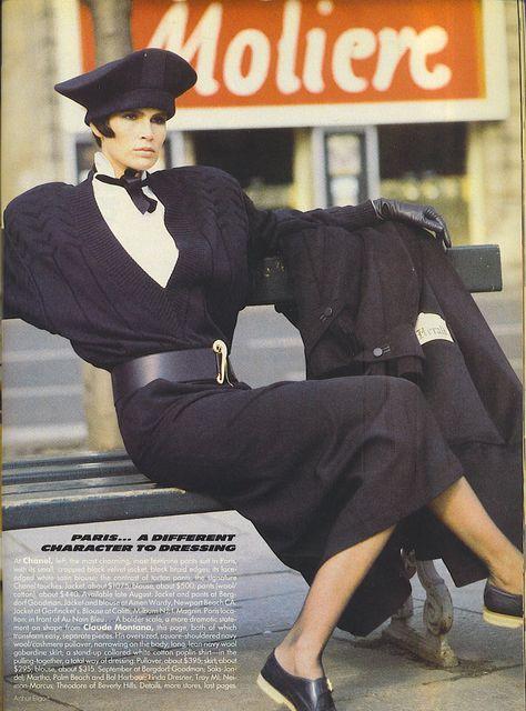 Claude Montana, Ensemble, photographed by Arthur Elgort for Vogue, 1984