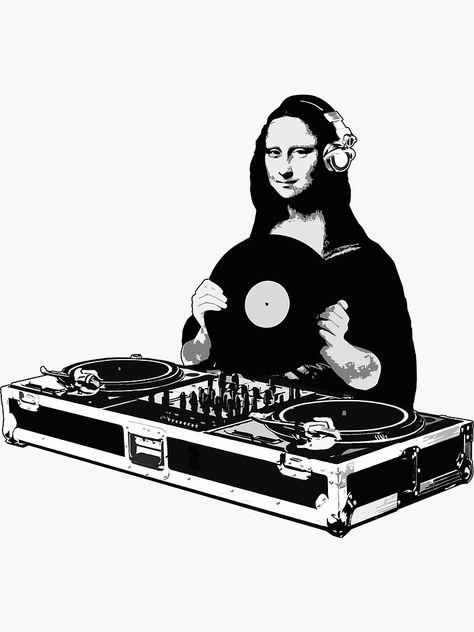 """""""DJ Mona Lisa"""" Sticker by robotface Dj Logo, Dj Music, Music Is Life, Rock And Roll, Dj Tattoo, Arte Do Hip Hop, Street Art, Nocturne, Vinyl Art"""