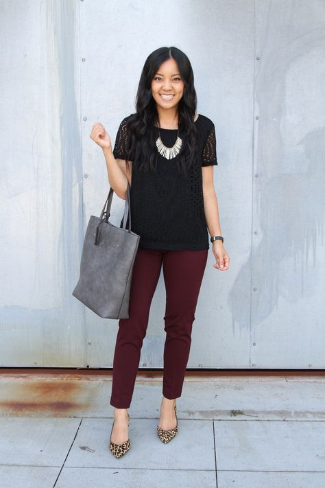 Super Comfortable Denim and Pants for Work With Liverpool Los Angeles black lace top, maroon pants, leopard print heels, grey tote, statement necklace Burgundy Pants Outfit, Black Pants Outfit Dressy, Colored Pants Outfits, Pink Pants, Outfit Work, Liverpool, Work Attire, Work Outfits, Burgundy