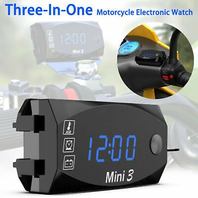 3 In1 Led Electronic Digital Time Clock Thermometer Voltmeter For 12v Motorcycle Ebay In 2020 Time Clock Thermometer Clock