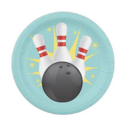 Retro Tenpin Bowling Party Paper Plate Zazzle Com In 2020 Bowling Party Kids Bowling Party Paper Plates