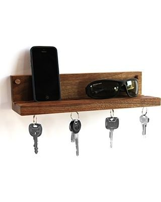 Living Provisions Living Provisions Floating Cell Phone Wall Mounted Storage Shelf With Magnetic Key Ring Holder Handcrafted From Solid Walnut From Amazon B In 2020 Wall Mounted Storage Shelves