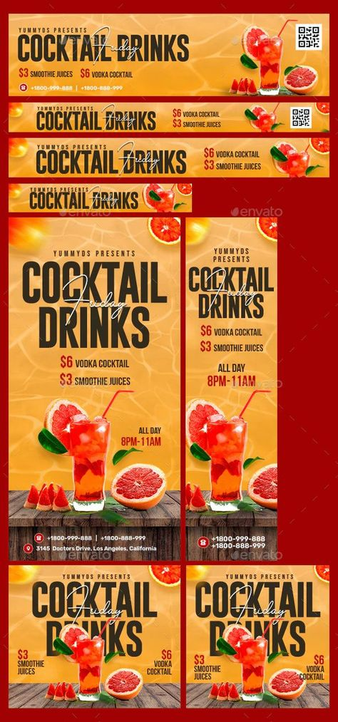 Animated Summer Cocktails Banners Template PSD