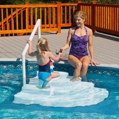 Blue Wave White Wedding Cake Above Ground Pool Step With Liner Pad Ne110wh The Home Depot Above Ground Pool Steps Swimming Pool Decks Pool Steps