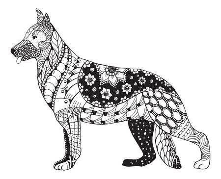Deutsch Schaferhund Kopf Stilisiert Illustration Freihandig Bleistift Von Hand Gezeichnet Muster Zen Kunst Hund Zeichnungen Zen Kunst Illustration