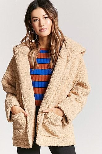 3960190f7 Hooded Faux Shearling Jacket (emma chamberlain poopy jacket ...