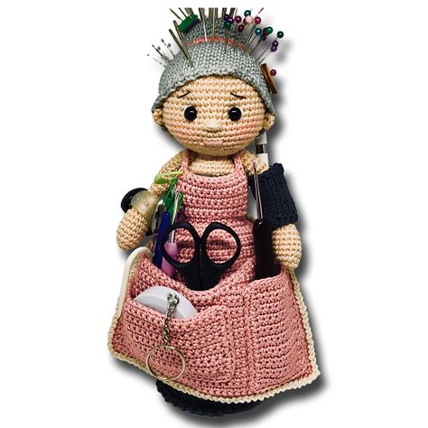 Give your loose pins a pretty home! This amigurumi doll with apron and sewing tools converted into a pincushion is brilliant! Amazingly adorable, creative, unique and far from being boring Crafter-Granny free crochet pattern by Zhaya Designs is a great a great pincushion and an awesome gift idea for anyone who loves to knit, crochets …