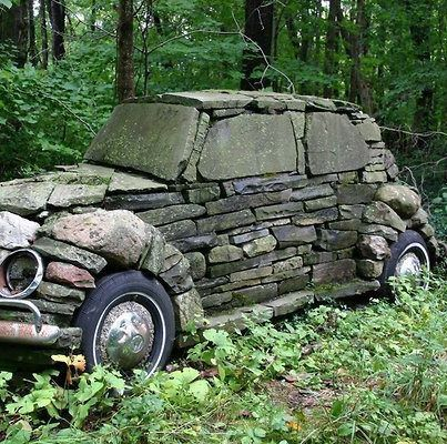 Is it a dry stone wall, a piece of garden art, or just a folly?Built in it. - - Is it a dry stone wall, a piece of garden art, or just a folly?Built in it really is a classic. Land Art, Art Pierre, Street Art, Vw Vintage, Vintage Stuff, Dry Stone, Stone Age, Stone Work, Picture Design