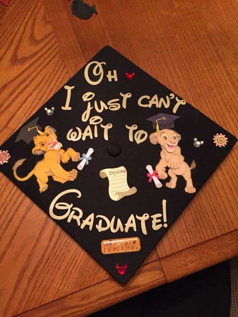 My graduation cap! Lion king of course.for lettering I used my cricut machine! My graduation cap!