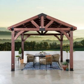Backyard Discovery Cedar 12 X 12 Gazebo Sam S Club In 2020 Wooden Gazebo Patio Gazebo Gazebo