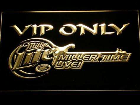 Miller Lite Miller Time VIP Only LED Neon Sign