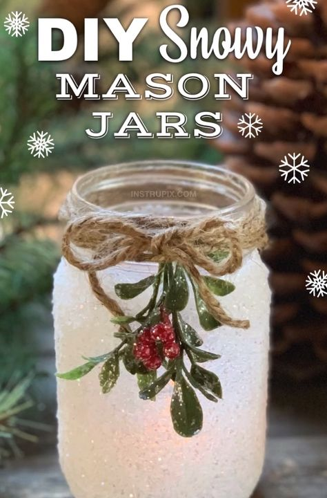 DIY Snowy Mason Jar Luminaries (Fun & Easy Christmas Craft Idea!)