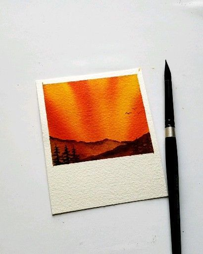 Watercolor Sunrise Aesthetic Painting Ideas Galaxy Painting