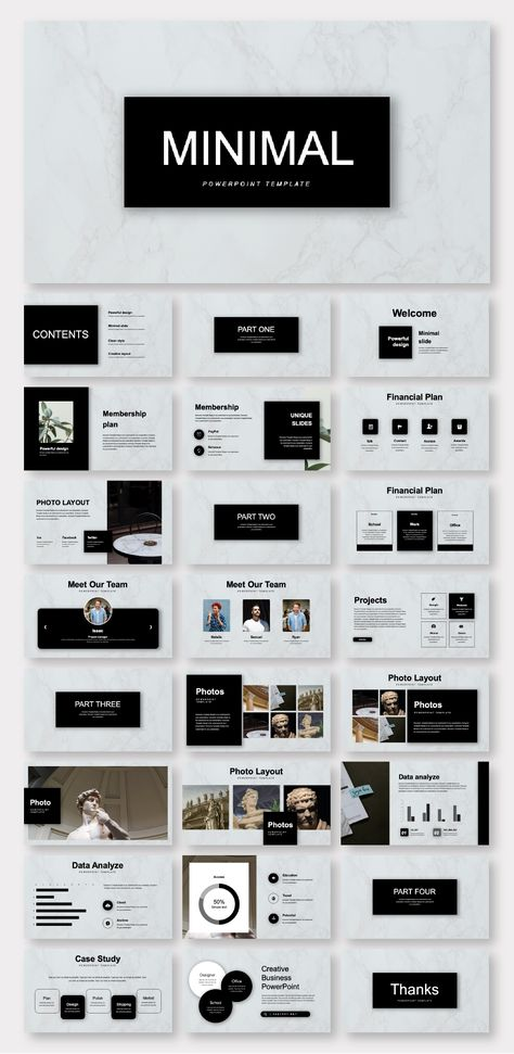 Black & Marble Minimalist Business Plan Presentation Template – Original and High Quality PowerPoint Templates