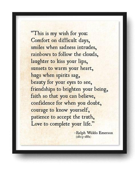 Ralph Waldo Emerson Quote Print, My Wish For You, Grad Graduation Gift, Literary Art Print, Rustic Modern Wall Art, Poetry Art Print