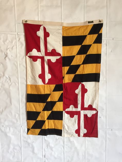 maryland state flag from the 80's. great condition. all stitched cotton construction. two metal grommets. 3' x 5' *part of a great collection sent to an elementary school from each state, some of whic