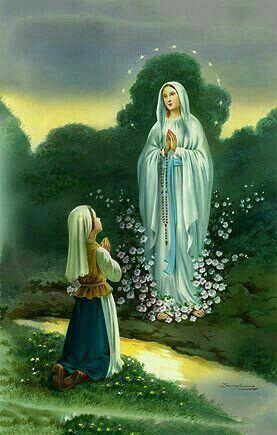 Santa Bernardita En Una De Las Apariciones Con La Santisima Virgen