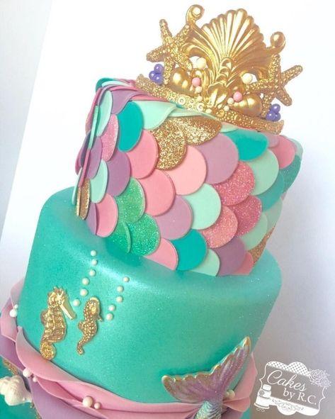 27+ Creative Picture of Mermaid Birthday Cake . Mermaid Birthday Cake This Weekend Was All About Mermaids Fondant Tiara Gold Shimmer  #BirthdayCakeIdeas