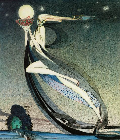Zephyr - Kay Nielsen Art Deco Illustration, Fantasy Illustration, Illustrations, Botanical Illustration, Kay Nielsen, Fairy Art, Unique Art, Art Inspo, Vintage Art
