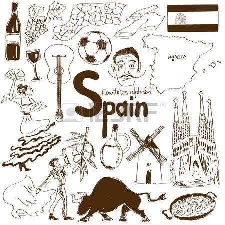 Colorful Collection Croquis De Symboles Espagnols Coeur Concept De Forme Fond Voyage Carnet De Dessin Symbole Espagnol Symbole Espagne
