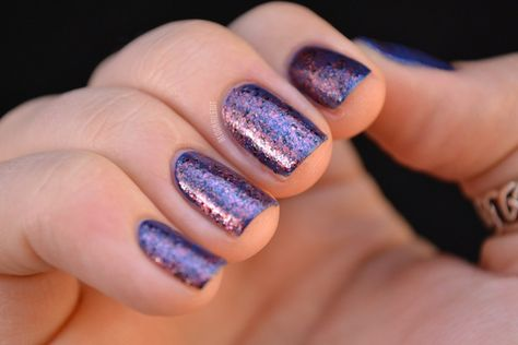 A Rhyming Dictionary Oil of Veins | Swatched over dark blue creme by Nailed It