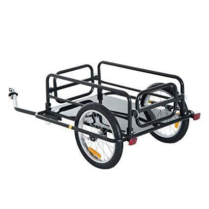 Aosom Wanderer Folding Bicycle Bike Cargo Storage Cart and Luggage Trailer  with Hitch