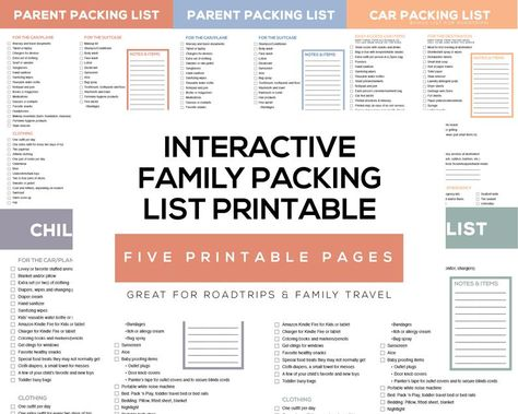 Interactive Printable Family Packing List Planner - Bonus Roadtrip Car Packing List Included