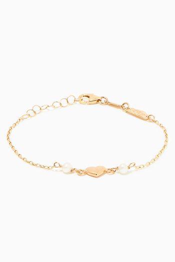 بيبي فتيحي سوار ذهب بتصميم قلب مرصع باللؤلؤ اسعار ماركات عالمية فخمة راقية Jewelry Gold Gold Bracelet