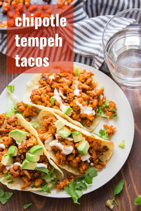Hearty, crumbly, and packed with protein...tempeh makes the best vegan taco filling! These chipotle tempeh tacos are delicious, super easy to whip up, and perfect for weeknight dinners. On the table in 20 minutes! #veganrecipe #vegantacos #tempeh #meatlessmonday #tacotuesday