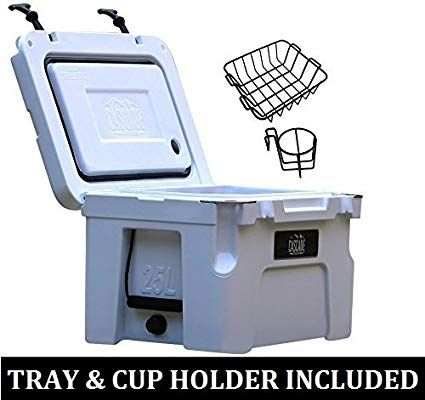 Cascade Coolers 25l White Premium Performance Pro Series Rotomold Ice Chest Yeti Quality Cooler Includes Basket Cup Holder Revi Cup Holder Ice Chest Cooler
