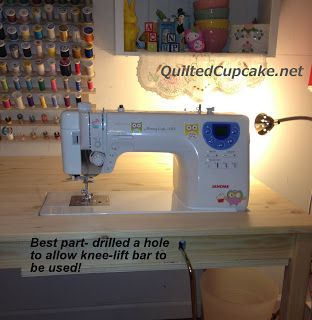 Quilted Cupcake: Sewing Machine Table Tutorial Tips ... I like that she has a hold drilled for her knee lift lever.