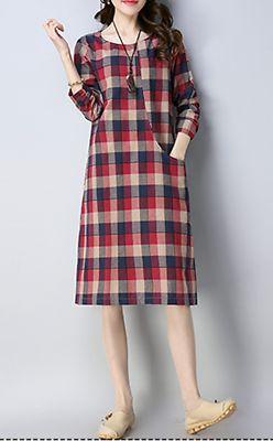 Women dress loose fit checkered pocket tunic Bohemian Boho long sleeve casual   eBay