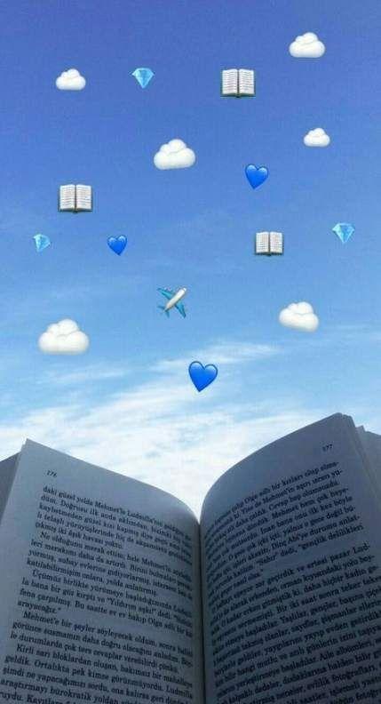 38 Ideas Wallpaper Phone Tumblr Aesthetic Books Wallpaper Blue Wallpaper Iphone Emoji Pictures Cute Emoji Wallpaper