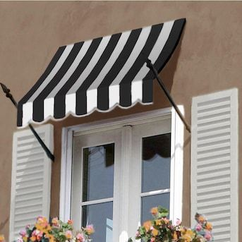 Awntech New Orleans 100 5 In Wide X 32 In Projection Black White Striped Striped Open Slope Window Door Fixed Awning Lowes Com In 2020 House Awnings Windows And Doors Window Trim Exterior