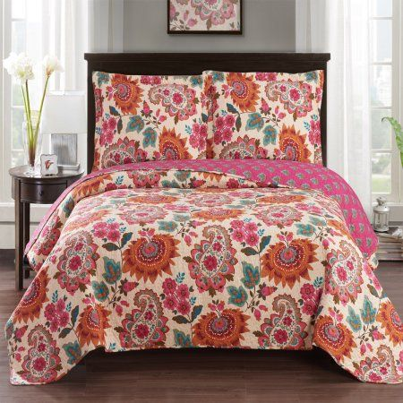 coverlet-reversible-flowers-4 SIZES bedspread 41-42 All For You 3PC quilt set