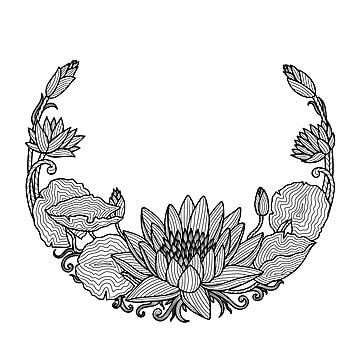 Gambar Lukisan Tangan Teratai Bunga Teratai Seni Hitam Sempadan Png Dan Vektor Untuk Muat Turun Percuma Flower Drawing Tutorials How To Draw Hands Glass Etching Patterns