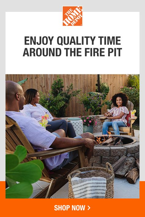 Complete your dream back yard with decorative touches from The Home Depot. Enhance the warm look and feel of your fire pit with string lights, plants and conversational seating. Tap to shop the essentials for easy summer living at The Home Depot.