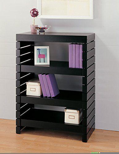 Organize It All Bookcase 39654 1 3 Tier Black Modern Bookshelves