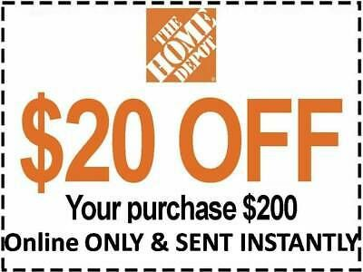 Two 2x Home Depot Coupon 20 Off 200 Online Use Only Very Fast Sent 1sec In 2020 Home Depot Coupons Depot Home Depot