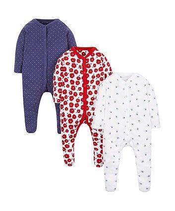 Floral And Spotty Sleepsuits 3 Pack Mothercare Baby Newborn Girl Baby Clothes