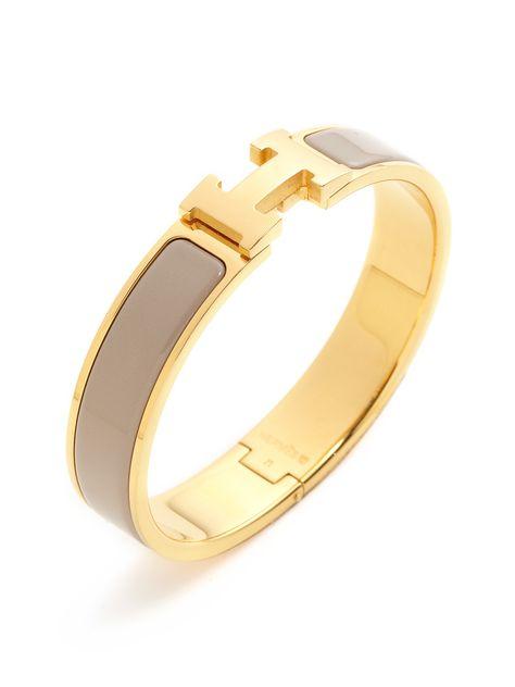 Hermes Clic-Clac H Beige Narrow Enamel Bracelet PM by Hermès at Gilt