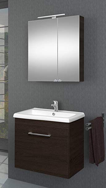 Planetmobel Waschtischunterschrank Mit Spiegelschrank Badmobel Set 60cm Fur Badezimmer Gaste Wc Wenge Badezimmer Schrank Spiegelschrank Badezimmer