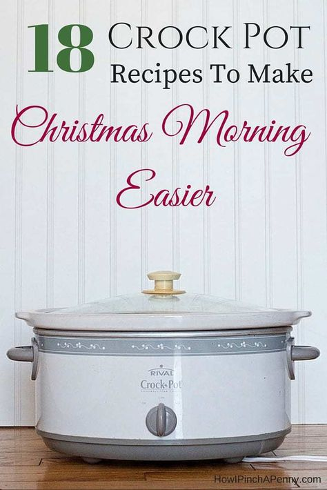 Make Christmas morning easier for yourself by having Christmas morning breakfast ready with the help of these crock pot recipes. Oatmeal crock pot recipes, crock pot recipes with bacon, warm drinks in the crock pot and sweet recipes in the slow cooker will help make your Christmas morning easier! #crockpot #christmasmorning #christmasbreakfast