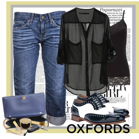chiffon blouse with Oxfords