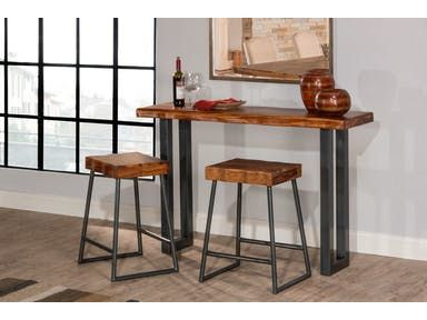 Ideal For Small Spaces Is The Emerson Sofa Table With Non Swivel Stools Gray Metallic U Shaped Legs Bri Wood Sofa Table Table Behind Couch Hillsdale Furniture