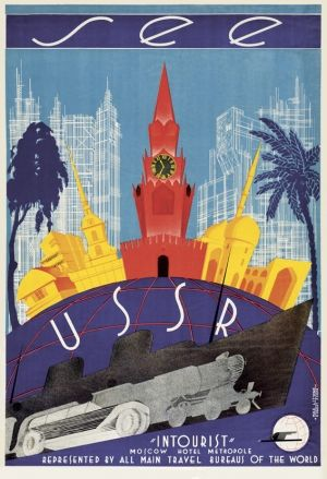 High quality giclee fine art reprint of a 1930 Soviet travel poster by M Litvak-Maksimov and R Fedor designed for the State Travel Company Intourist, available at www.AntikBar.co.uk.