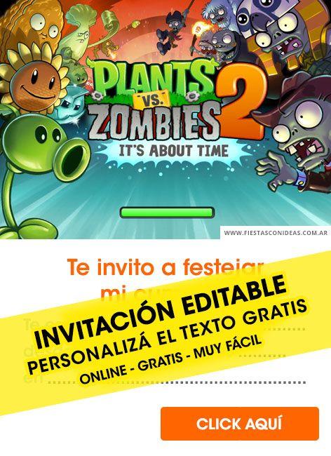 4 Tarjetas De Cumpleaños De Plants Vs Zombies Gratis Para Editar Personalizar Imprimir Plantas Vs Zombies Cumpleaños Plants Vs Zombies Plantas Vs Zombies